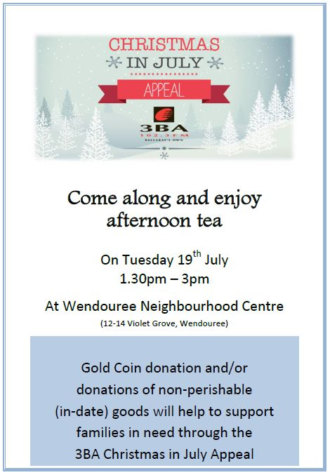 wendouree neighbourhood centre xmas in july appeal afternoon tea